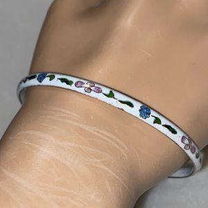 Vintage Enamel Sterling Bangle Bracelet